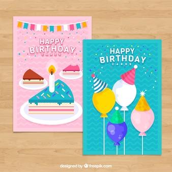 Zestaw dwóch kart urodzinowych w płaskiej konstrukcji