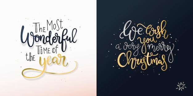 Zestaw dwóch kartek świątecznych z odręcznymi życzeniami.