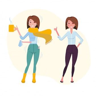 Zestaw dwóch kobiet, jedna ma przeziębienie, druga jest zdrowa.