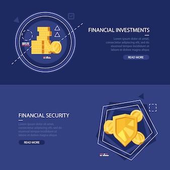 Zestaw dwóch kolorowych banerów dla inwestycji finansowych i bezpieczeństwa finansowego.