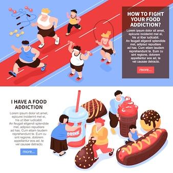 Zestaw dwóch kompozycji obżarstwo horyzontalne izometryczne przejadanie się z wizerunkami ludzi uprawiających sport jedzący jedzenie ilustracji
