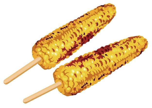 Zestaw dwóch kukurydzy z grilla na kaczan na białym tle