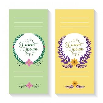 Zestaw dwóch pionowych banerów z wieńcem laurowym i ornamentami liści, zielony i żółty