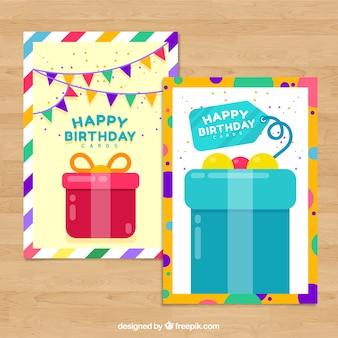 Zestaw dwóch płaskich kart urodzinowych