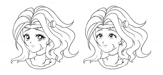 Zestaw dwóch portretów dziewczyny ładny manga zombie. dwa różne wyrażenia. ręcznie rysowane kontur ilustracji wektorowych w stylu retro lat 90-tych. czarna grafika liniowa.