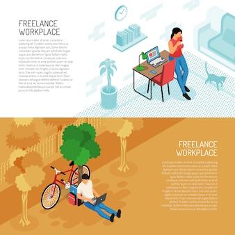 Zestaw dwóch poziomych banerów freelancer z domowym wnętrzem pracy i scenerią zewnętrzną z edytowalnym tekstem