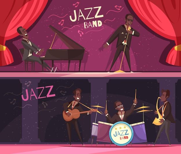 Zestaw dwóch poziomych banerów jazzowych z widokiem na klasyczną scenę z czerwonymi zasłonami i muzykami