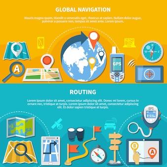 Zestaw dwóch poziomych banerów nawigacyjnych z izolowanymi ikonami gadżetów map i aplikacji do tworzenia wykresów kursów