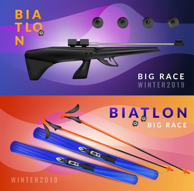 Zestaw dwóch poziomych realistycznych bannerów biathlonowych z zimowym wyścigiem i wyposażeniem