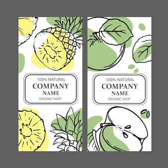 Zestaw dwóch projektów ekologicznych sklepów z szablonami szkiców owoców