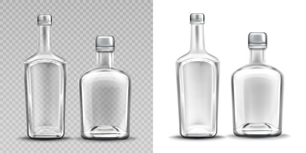 Zestaw dwóch pustych szklanych butelek