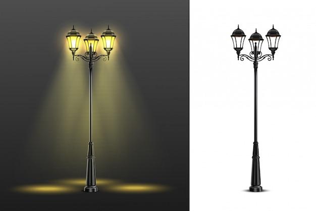 Zestaw dwóch realistycznych latarni ulicznych z ilustracjami wielokolorowych i czarno-białych kompozycji