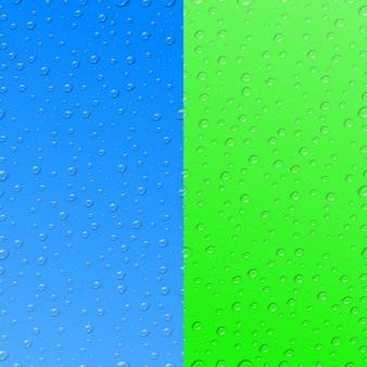 Zestaw dwóch realistycznych wzorów bez szwu kropli wody do dekoracji szablonu i pokrycia na kolorowych tłach.