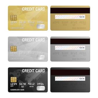 Zestaw dwóch stron karty kredytowej