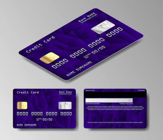 Zestaw dwóch stron realistyczne karty kredytowej na białym tle
