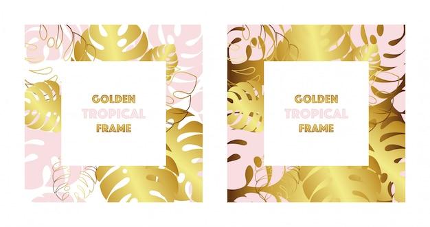 Zestaw dwóch tropikalnych złotych ramek. złoto i różowi tropikalni monsteras opuszczają.