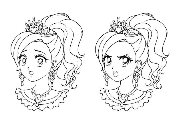 Zestaw dwóch uroczych portretów księżniczki manga. dwa różne wyrażenia. ręcznie rysowane kontur ilustracji wektorowych w stylu retro lat 90-tych. odosobniony.