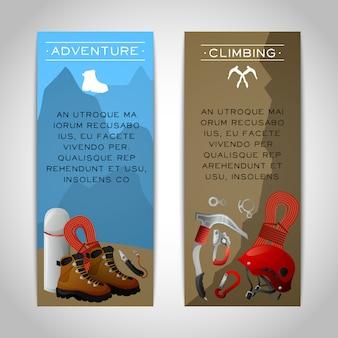 Zestaw dwóch zestaw bannerów wspinaczki
