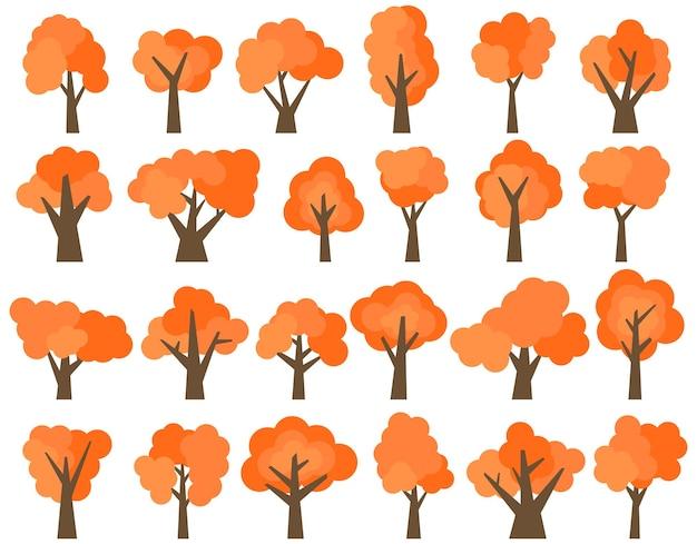 Zestaw dwudziestu czterech różnych drzew czerwony kreskówka na białym tle. ilustracja wektorowa