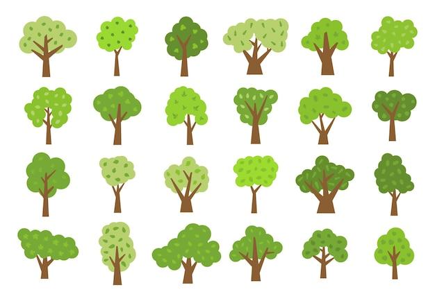 Zestaw dwudziestu czterech zielonych drzew z liśćmi. ilustracja wektorowa