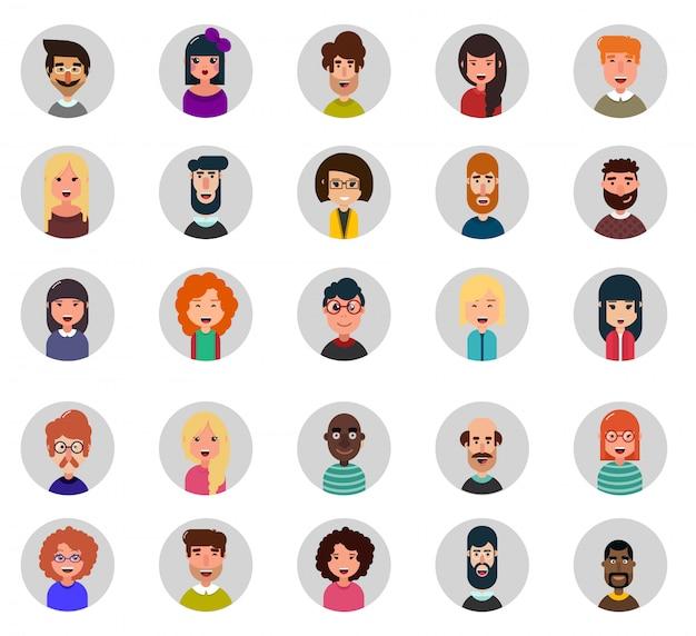 Zestaw dwudziestu pięciu avatar ikon wektorowych
