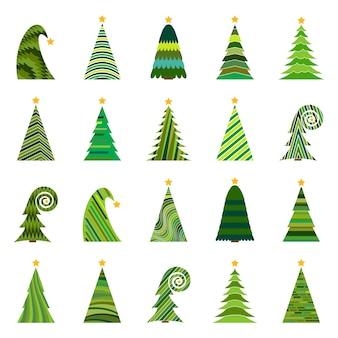 Zestaw dwudziestu różnych choinek. ilustracja na białym tle wektor wesołych świąt i szczęśliwego nowego roku.