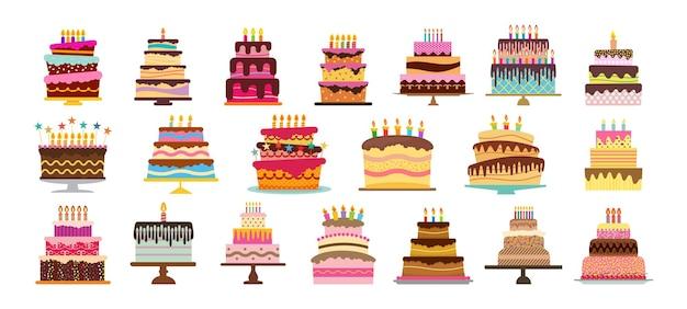 Zestaw dwudziestu słodkich tortów urodzinowych z płonącymi świeczkami. kolorowy deser wakacyjny. ilustracja wektorowa