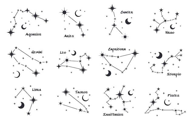 Zestaw dwunastu konstelacji. koło zodiakalne. czarne ręcznie rysowane gwiazdy na białym tle. gwiaździste niebo. horoskop, przepowiednie i proroctwa. streszczenie ilustracji wektorowych.