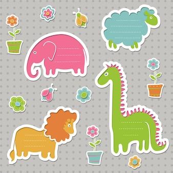 Zestaw dymków dla dzieci. kolekcja uroczych ramek tekstowych w kształcie zwierząt.