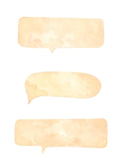 Zestaw dymków na białym tle. akwarela ilustracja.