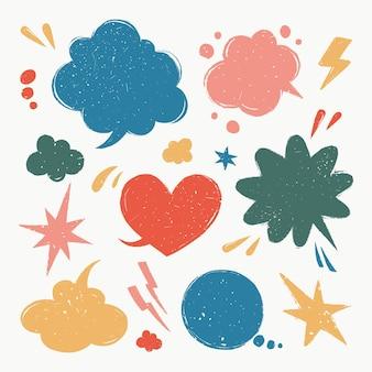 Zestaw dymków różne kształty balonów w stylu vintage z teksturą grunge