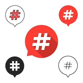 Zestaw dymków z ikoną hashtag. pojęcie znaku liczbowego, mediów społecznościowych, mikroblogowania, pr, popularności. na białym tle. płaski trend w nowoczesnym stylu projektowania ilustracji wektorowych