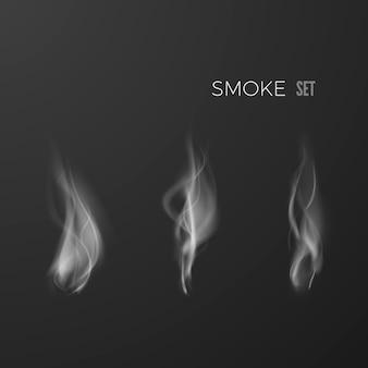 Zestaw dymu na białym tle na ciemnym tle. szablon kształtu dymu. cyfrowa fala dymu. ilustracja