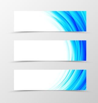 Zestaw dynamicznego projektu banera nagłówka z niebieskimi falami w stylu światła