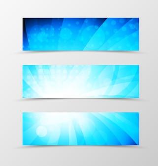 Zestaw dynamicznego wirowania banera nagłówka w kolorach niebieskim