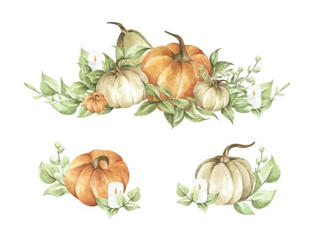Zestaw dyni akwarela. jesienna dekoracja kwiatowy wzór. ilustracja botaniczna. karta dziękczynienia.