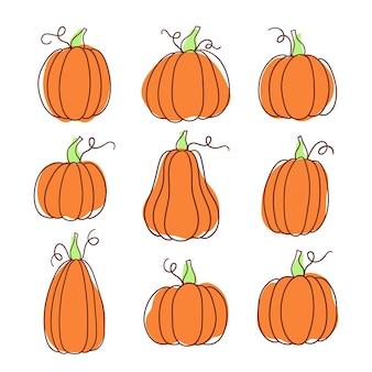 Zestaw dyni doodle w różnych kształtach