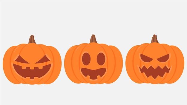 Zestaw dyni halloween, śmieszne twarze. ilustracja wektorowa