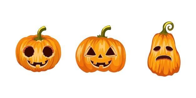 Zestaw dyni halloween, śmieszne twarze. realistyczna kolekcja dyni halloween