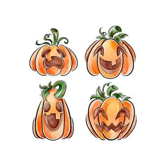 Zestaw dyni halloween w stylu przypominającym akwarele