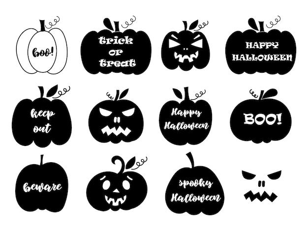 Zestaw dyni halloween z napisami i rzeźbionymi twarzami. ilustracja wektorowa.