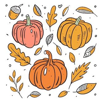 Zestaw dyni i jesienne liście linia sztuki kolorowy styl ręcznie rysowane szkic doodle