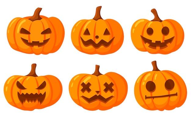 Zestaw dyni na białym tle z wyciętymi uśmiechami. pomarańczowa dynia z uśmiechem do projektowania na święta halloween. ilustracja wektorowa.