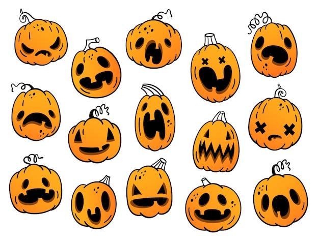 Zestaw dyni na halloween. śmieszne, przestraszone, wściekłe dynie
