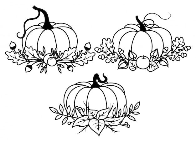 Zestaw dyni z wieniec jesień. zbiór gałęzi i owoców pod dyniami.