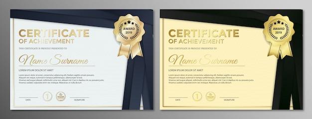 Zestaw dyplomów najlepszych nagród za osiągnięcia.