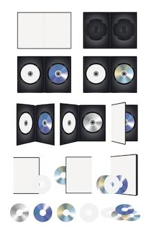 Zestaw dysków cd dvd i zestaw pudełek