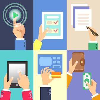 Zestaw działań biznesowych rąk
