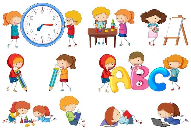 Zestaw Działań Dzieci Doodle Premium Wektorów
