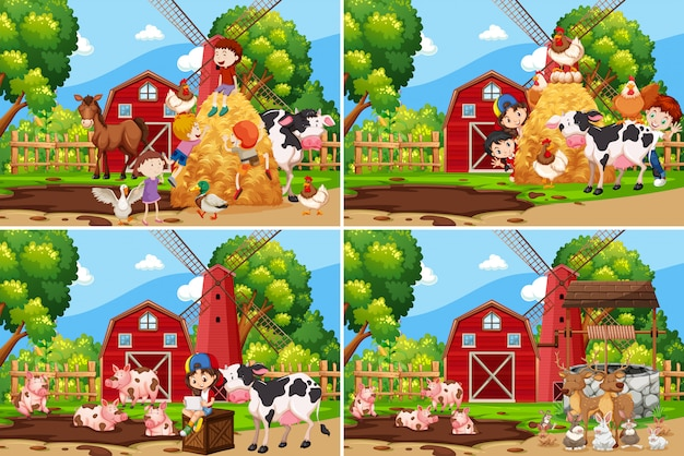 Zestaw dzieci bawiące się w gospodarstwie
